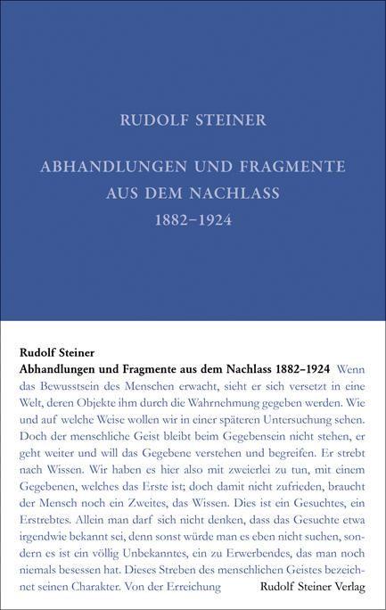 Abhandlungen und Fragmente aus dem Nachlass 1897-1925